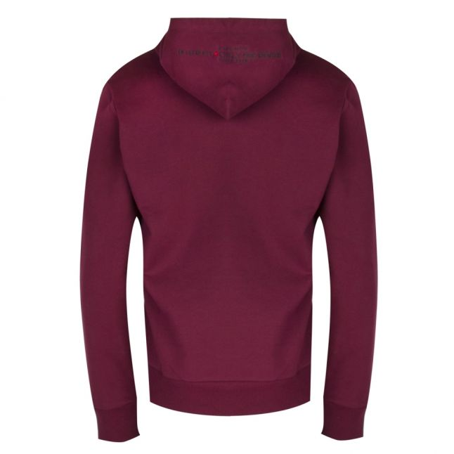 Mens Burgundy S-Palmy Hooded Sweat Top