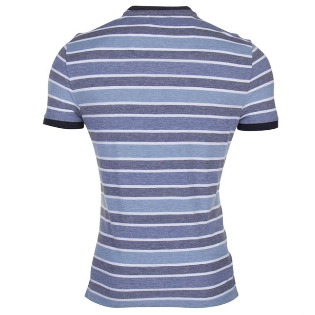 Mens Dark Sapphire Birdseye Wide Stripe Tee Shirt