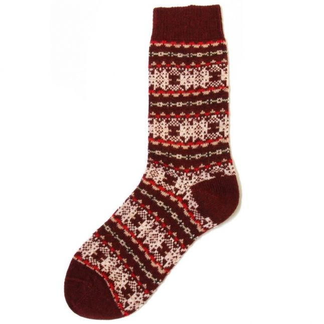 Lifestyle Womens Bordeaux Beckley Fairisle Wool Socks