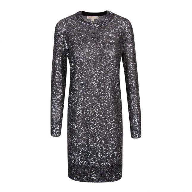 Womens Silver Sequin L/s Mini Dress