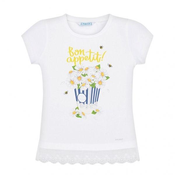 Girls White Daisy Popcorn S/s T Shirt
