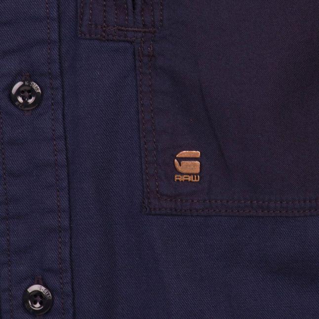 Mens Dark Police Blue Powel L/s Shirt
