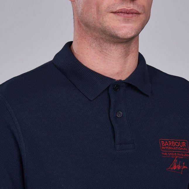 Mens Navy Chad Pique S/s Polo Shirt