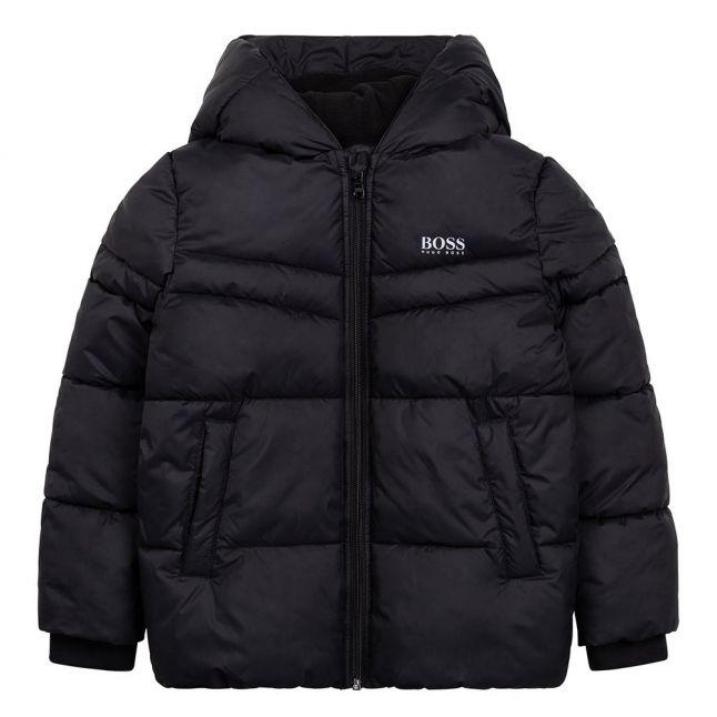 Boys Black Branded Hooded Padded Jacket