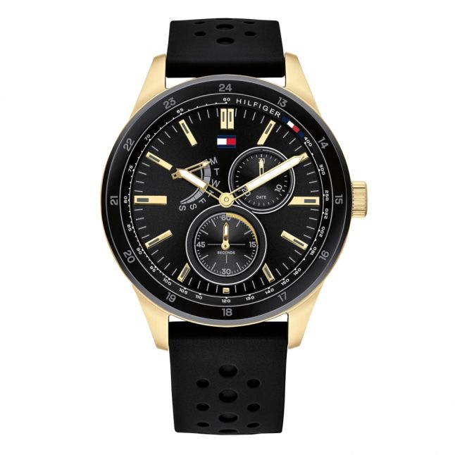Mens Black/Gold Silicone Watch