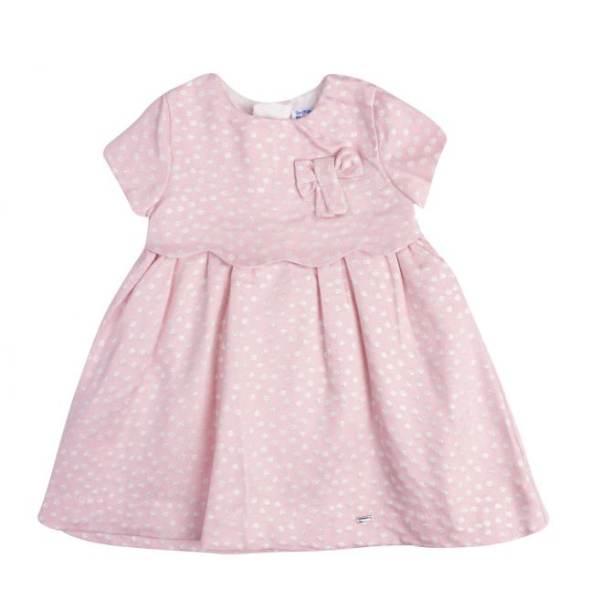 Infant Girls Rose Jacquard Polka Dot Dress