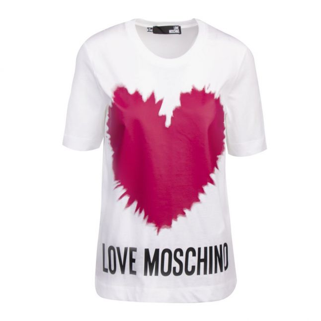 Womens White Splash Heart S/s T Shirt
