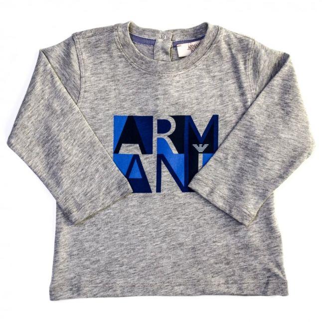 Baby Grey Melange Box Logo Print L/s Tee Shirt
