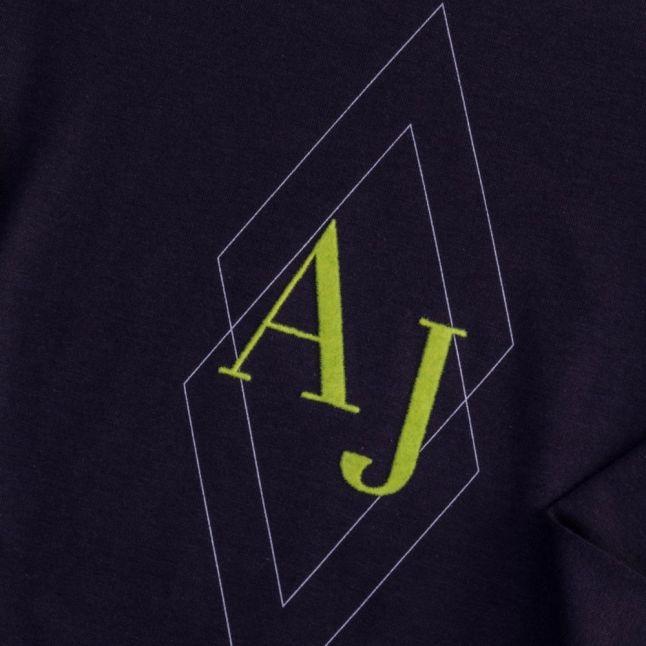 Boys Navy Diamond Print Logo L/s Tee Shirt