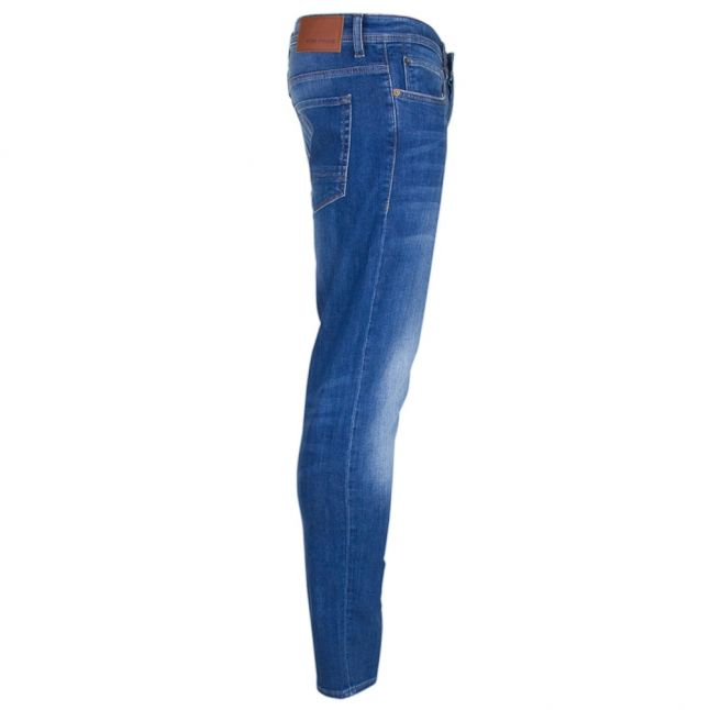 Mens Bright Blue Orange 90 Tapered Fit Jeans