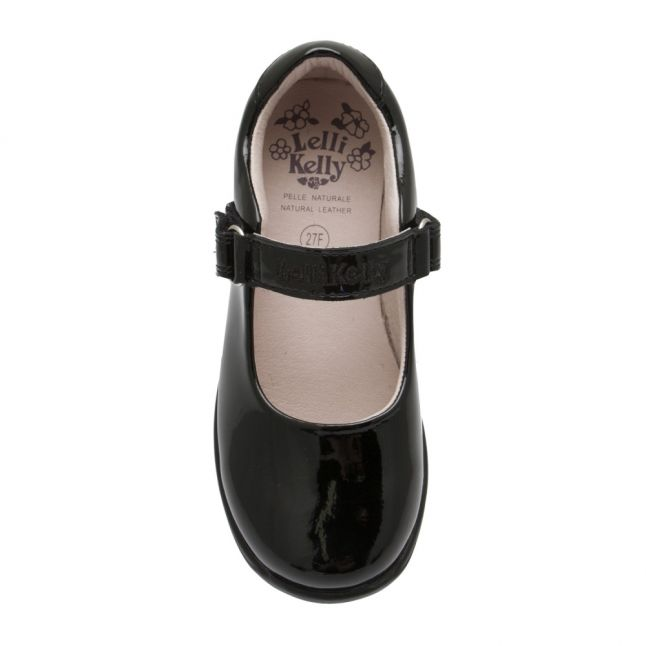Girls Black Patent Colourissima Bow F Fit Shoes (25-35)
