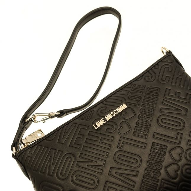 Womens Black Embossed Shoulder Bag