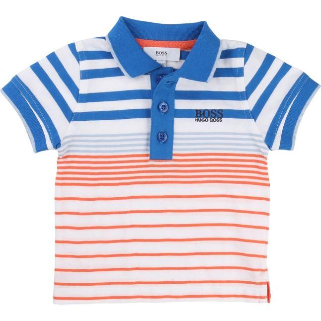 Baby Blue & Orange Striped S/s Polo Shirt