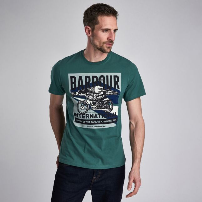 Mens Washed Green Perform S/s T Shirt