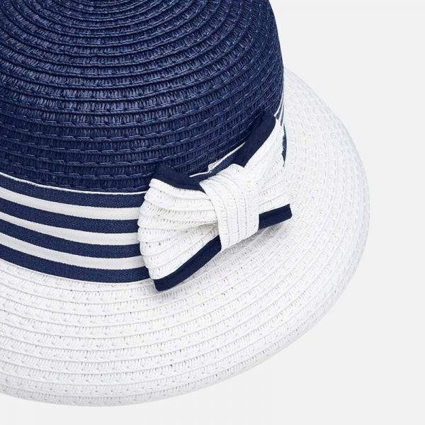 Girls Navy Round Straw Hat