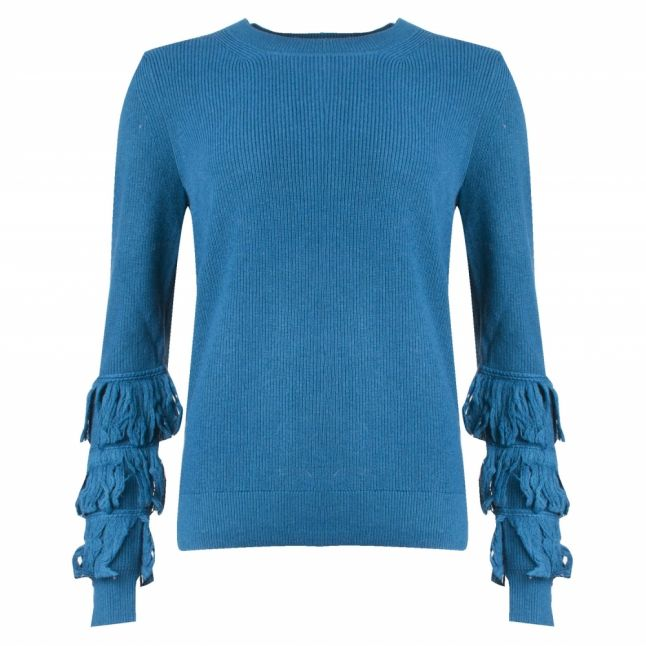 Womens Luxe Teal Shaker Fringe Crew Neck Knitted Top