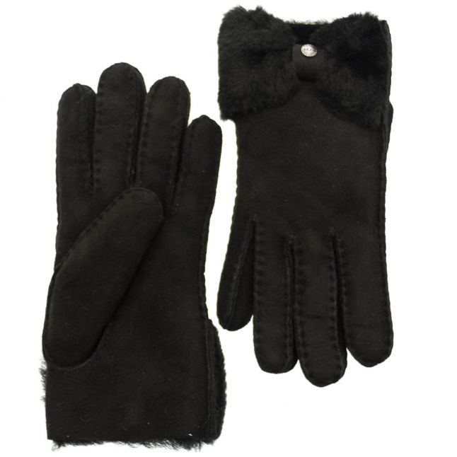 Womens Black Classic Bow Shorty Gloves
