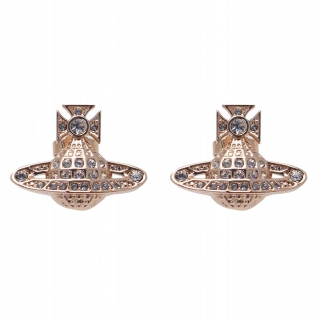 Womens Rose Gold Minnie Bas Relief Earrings