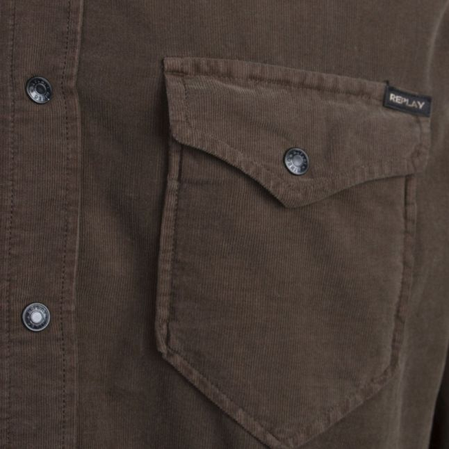 Mens Light Mud Mini Cord L/s Shirt