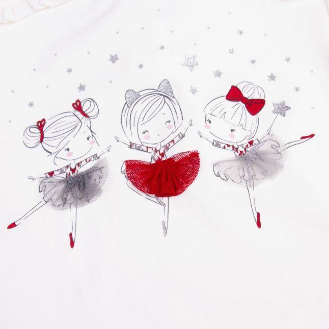 Mayoral Infant Cream/Red Dancers Top & Check Skirt Set
