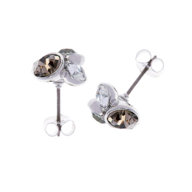 Womens Silver/Crystal Multi Lynda Cluster Studs