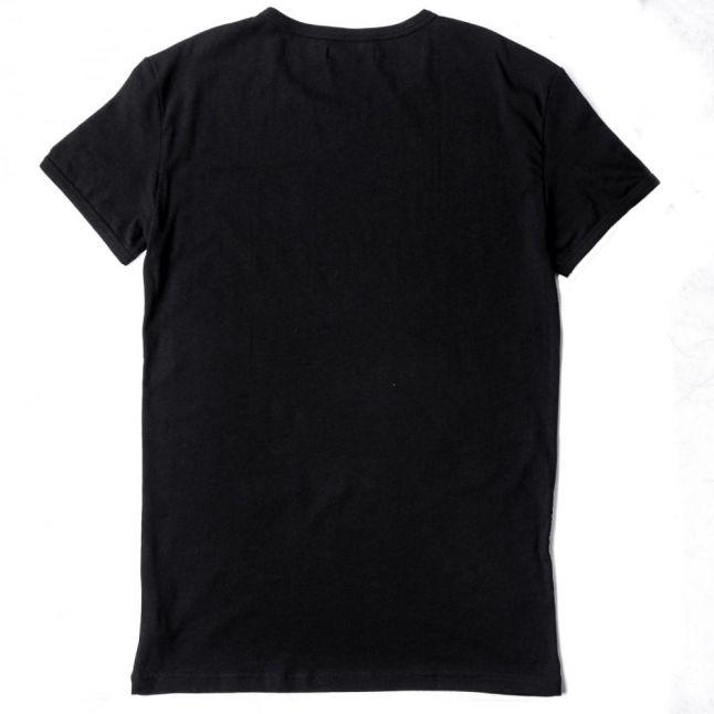 Mens Black Back Print Crew S/s Tee Shirt