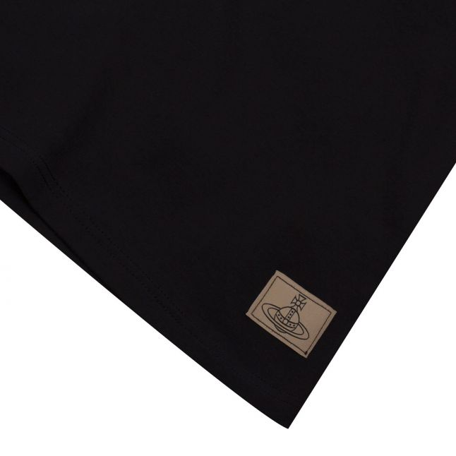 Mens Black Branded Tab S/s T Shirt
