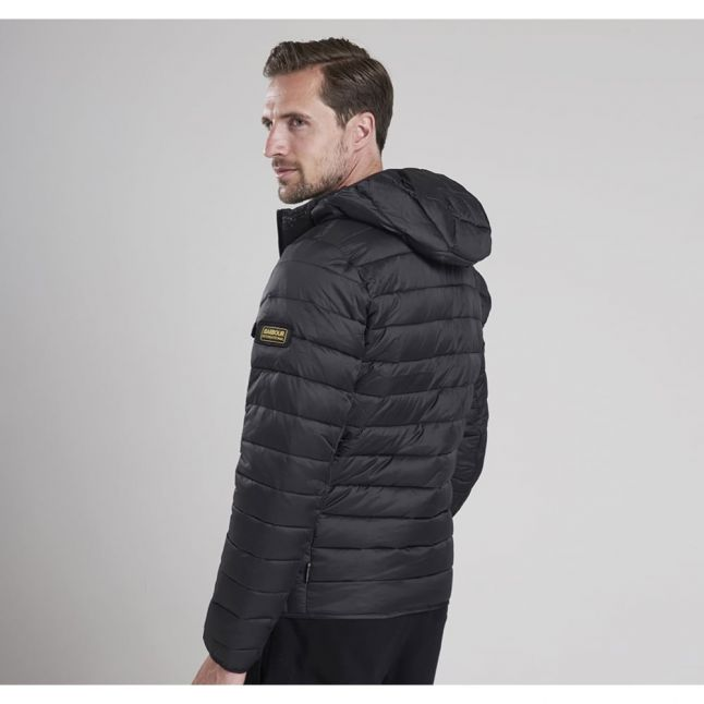 Mens Black Ouston Hooded Quilted Jacket