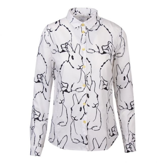 Womens White Lucky Rabbit Print L/s Shirt