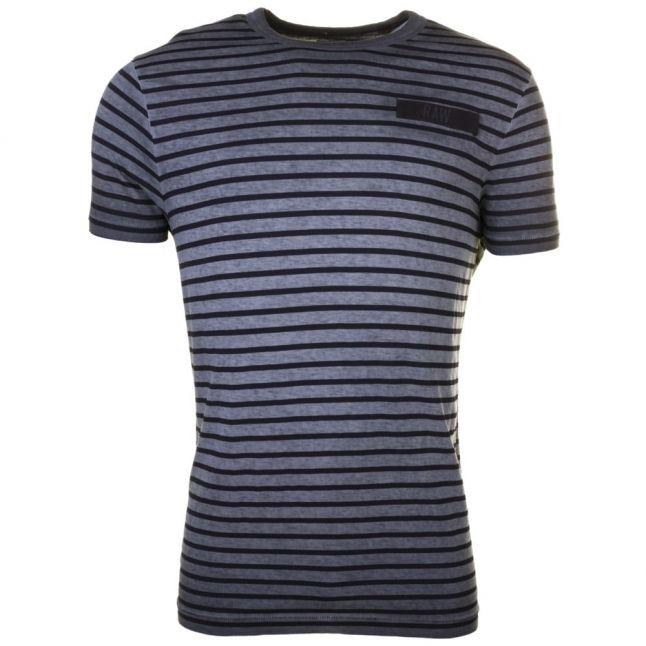 Mens Raven & Mazerine Rancis Stripe Regular Crew S/s  Tee Shirt