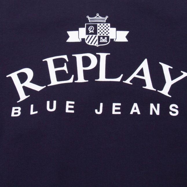 Mens Navy Heritage Logo Sweat Top