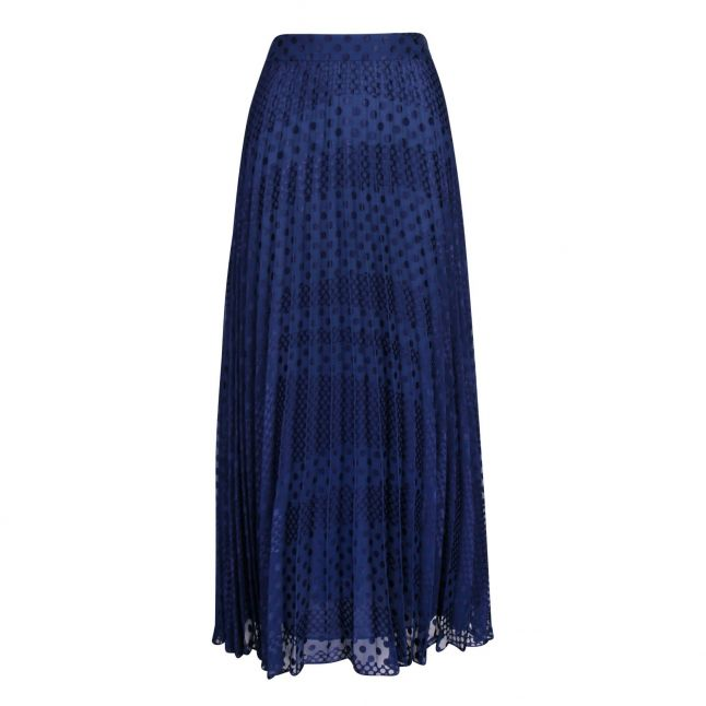 Womens Blue Spot Pleated Maxi Skirt
