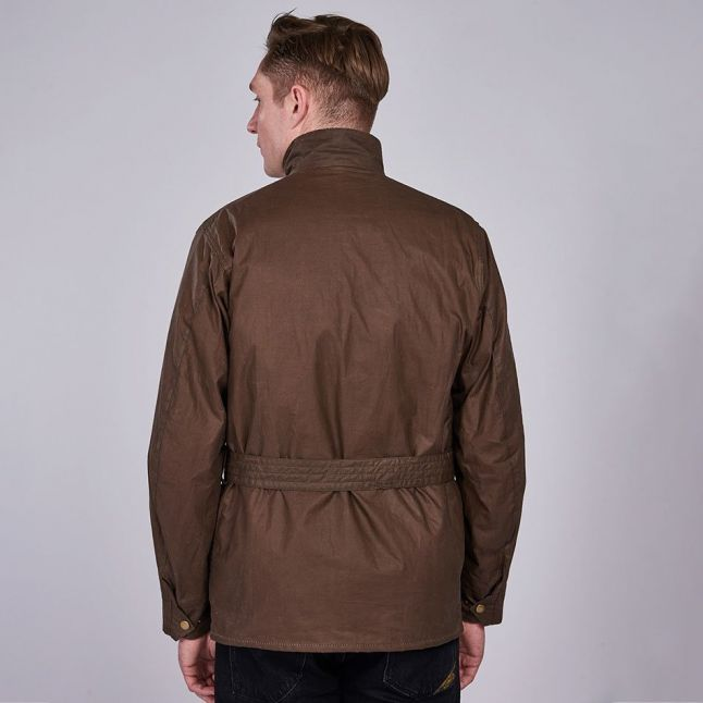 Mens Dark Sand Joshua Waxed Jacket