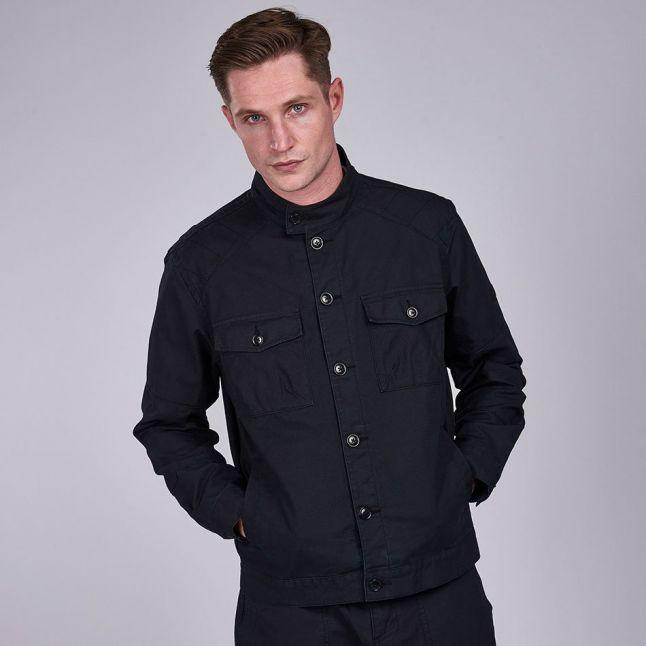 Mens Black Biker Overshirt Jacket