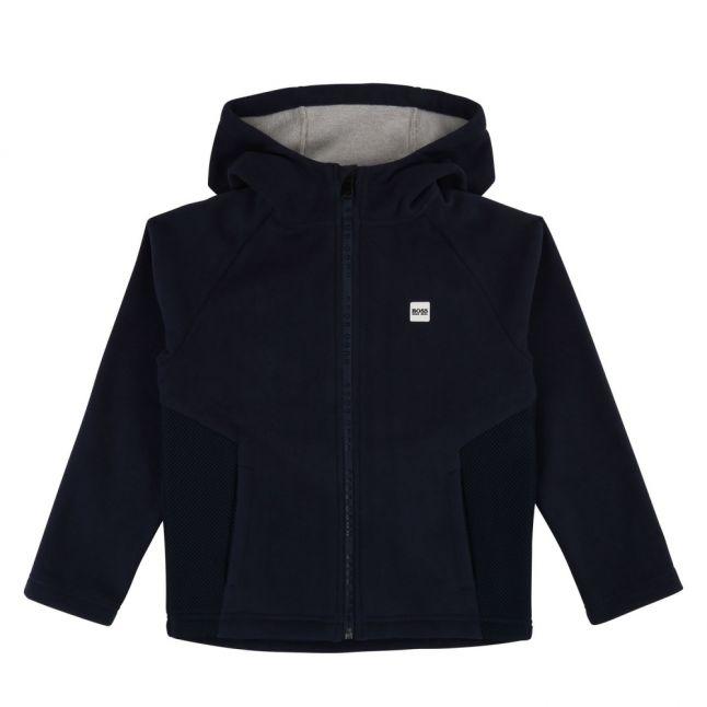 Boys Navy Branded Fleece Hooded Zip Sweat Top