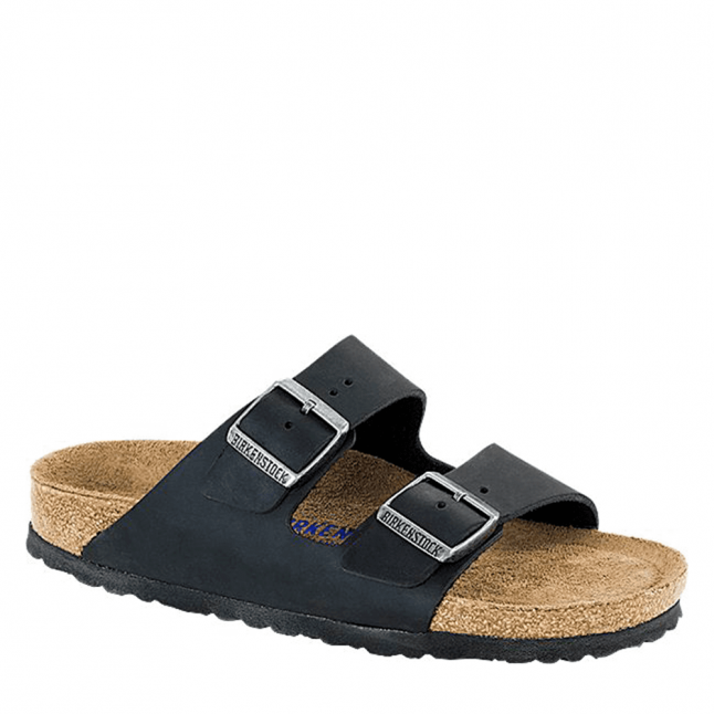 Womens Black Oiled Leather Arizona Regular Fit Slide Sandals