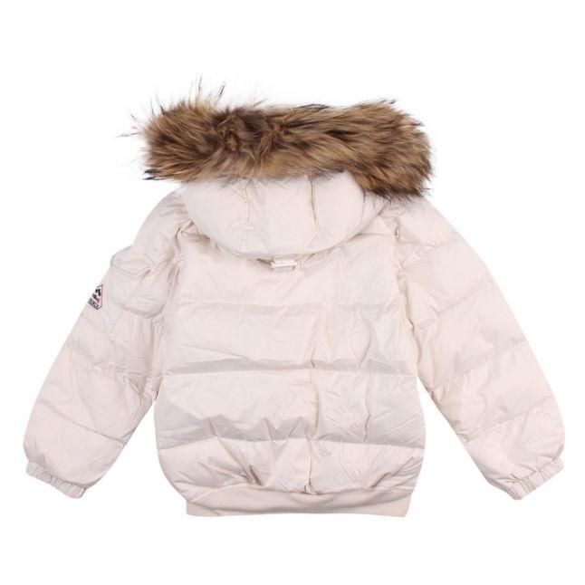 Girls Chalk Aviator Fur Hooded Bomber Jacket