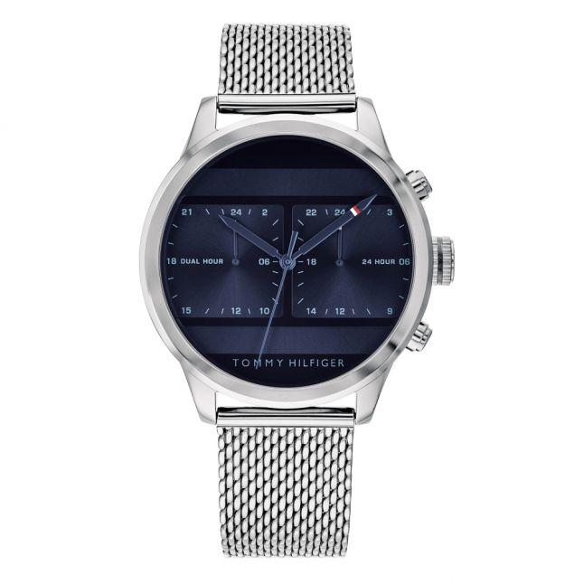 Mens Silver/Blue Icon Mesh Watch