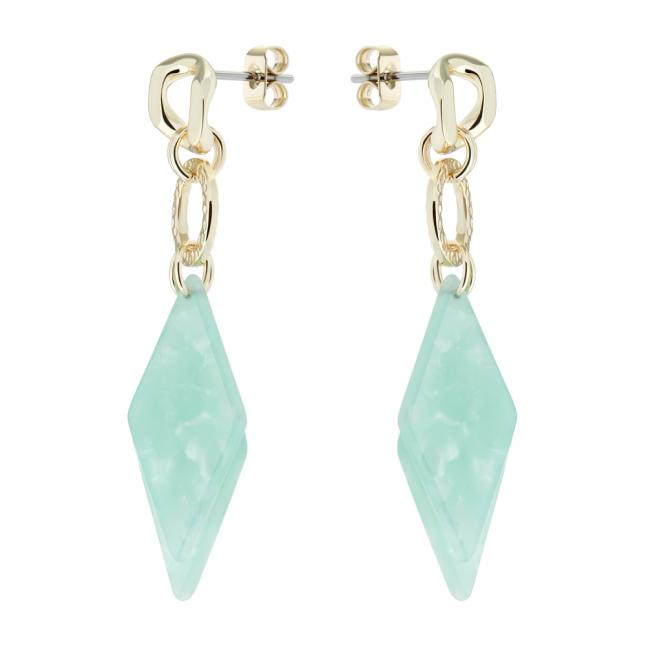Womens Gold/Light Green Deajra Diamond Drop Earrings