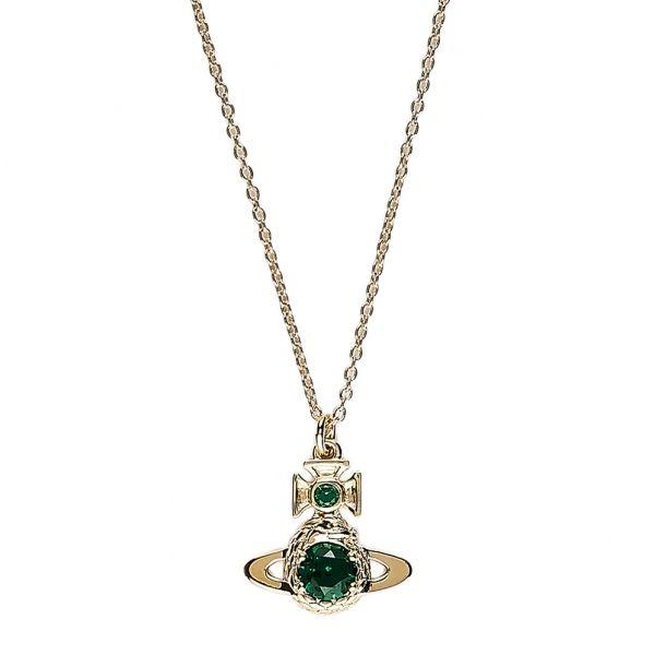 Womens Emerald/Gold Ouroboros Small Pendant Necklace