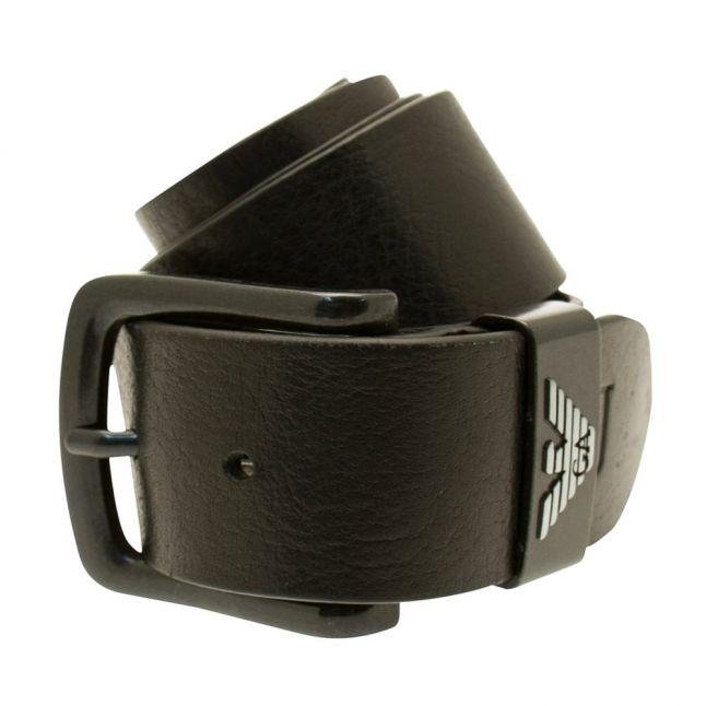 Mens Black Leather Branded Belt