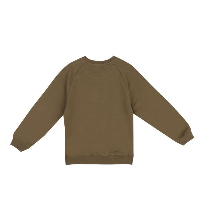 Boys Dark Olive Embroidered Toy Sweat Top