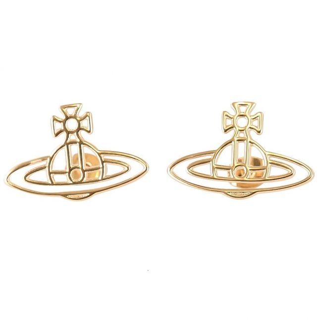 Womens Gold Thin Lines Flat Orb Stud Earrings