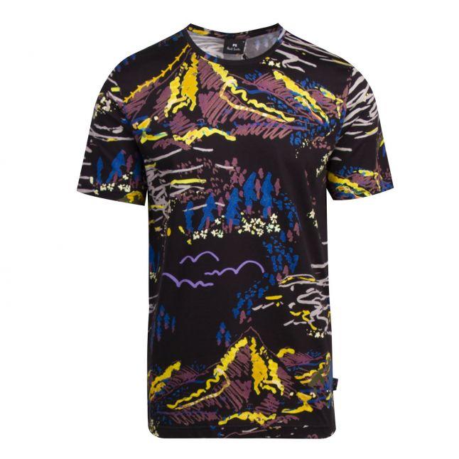 Mens Black Graphic Print Regular Fit T Shirt