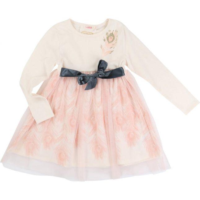 Girls Cream Feather Dress