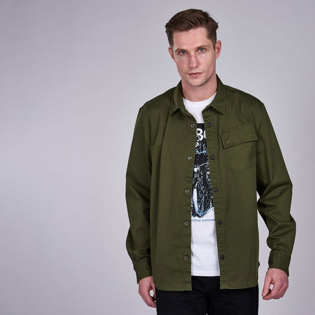 Mens Strong Olive Angled Overshirt