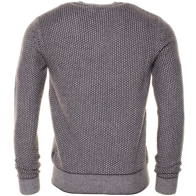 Mens Patterned Waffle Crew Knitted Jumper