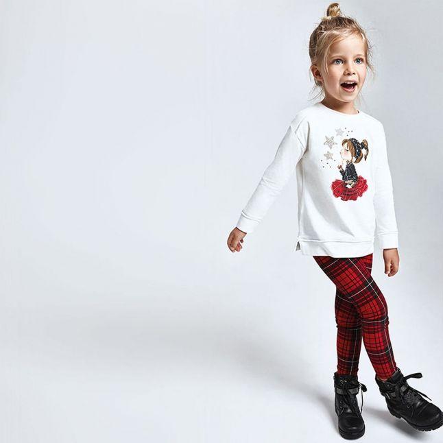 Girls Cream/Red Tartan L/s Top + Leggings Set