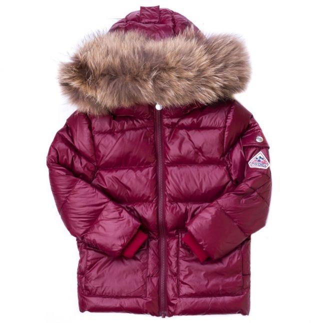 Girls Burgundy Authentic Fur Hooded Shiny Jacket