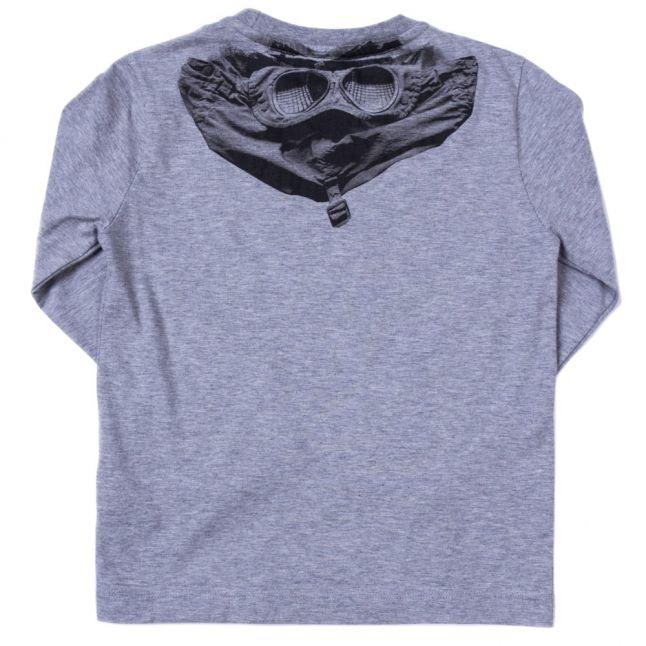 Boys Grey Melange Back Print L/s Tee Shirt